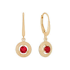 Round Ruby Lever Back Circle Earrings
