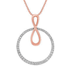 Diamond Circle Pendant in 14k Rose & White Gold (18 in.)