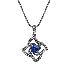 Sapphire and Diamond Pendant with Black Rhodium (18 in.)