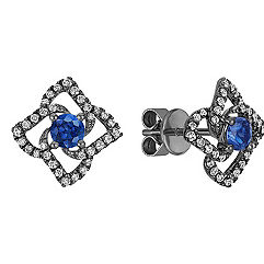 Round Sapphire and Diamond Floral Earrings with Black Rhodium