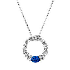 Oval Sapphire and Round Diamond Circle Pendant (18 in.)