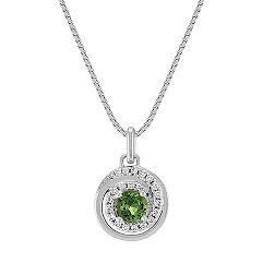 Round Green Sapphire and Diamond Circle Pendant (18 in.)