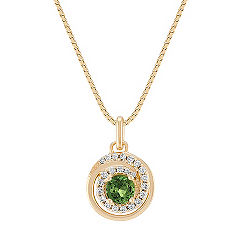 Green Sapphire and Diamond Circle Pendant (18)