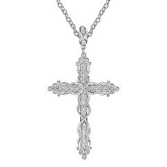 Sterling Silver and Diamond Cross Pendant (18 in.)