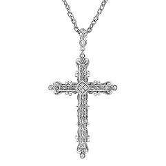 Diamond and Sterling Silver Cross Pendant (18 in.)