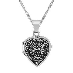 Heart Locket in 14k White Gold (18 in.)