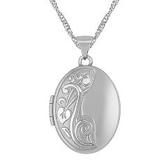 Oval Locket in 14k White Gold (18 in.)