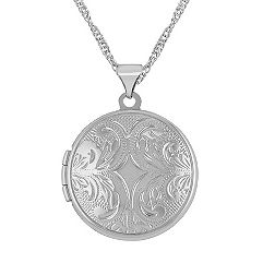 14k White Gold Round Locket (18 in.)
