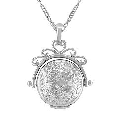 14k White Gold Spinning Locket (18 in.)