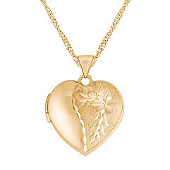 Engraved 14k Yellow Gold Heart Shaped Locket (18 in.)
