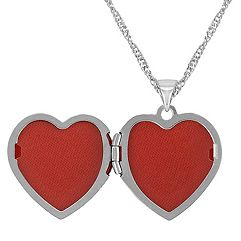 Engraved 14k White Gold Heart Shaped Locket (18)