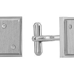 Titanium Cuff Links with Diamonds