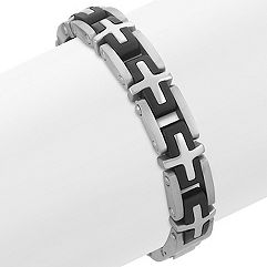 Stainless Steel Bracelet with Cross Pattern (8.5 in.)