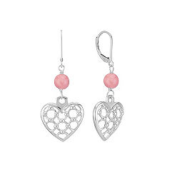 Sterling Silver and Rhodonite Heart Earrings