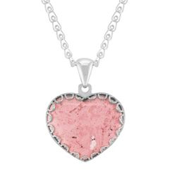 Heart-Shaped Rhodonite and Sterling Silver Pendant (30)