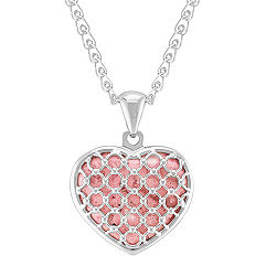 Heart-Shaped Rhodonite and Sterling Silver Pendant (30 in.)