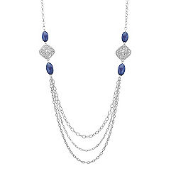 Blue Sodalite and Sterling Silver Necklace (36 in.)