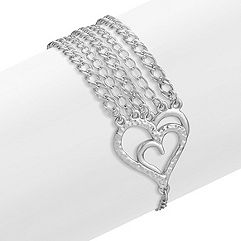 Sterling Silver Heart Bracelet (7.5 in.)