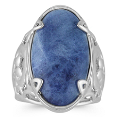 Oval Sodalite and Sterling Silver Ring
