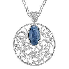 Sterling Silver and Sodalite Circle Pendant (18 in.)