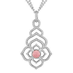 Sterling Silver and Rhodonite Floral Pendant (18 in.)