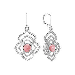 Sterling Silver and Rhodonite Floral Dangle Earrings