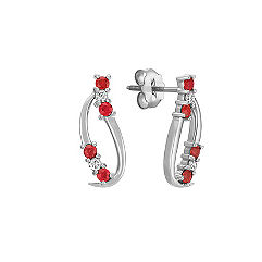 Cluster Round Ruby and Diamond Earrings