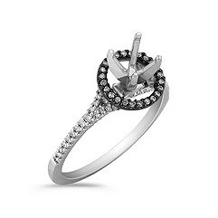Halo 14k White Gold & Black Rhodium Engagement Ring with 72 Pavé Set Diamonds