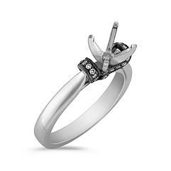 Diamond Engagement Ring with Black Rhodium