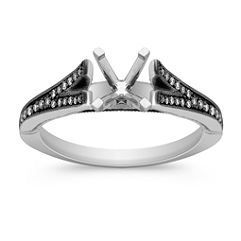 Cathedral Diamond Engagement Ring with Black Rhodium