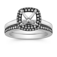 Halo Diamond Wedding Set with Black Rhodium and Pave Setting