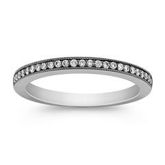 Pavé Set Diamond Wedding Band with Black Rhodium