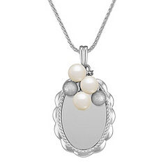 Engravable Sterling Silver Pendant with 5mm Cultured Freshwater Pearls (24 in.)