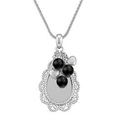 Engravable Sterling Silver Pendant with Black Agate Beads (24 in.)