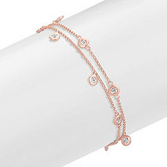 White Sapphire Bracelet with Bezel Setting in Rose Gold (7 in.)