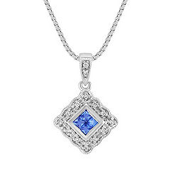 Princess Cut Kentucky Blue Sapphire and Round Diamond Pendant (18 in.)