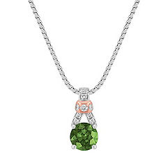 Green Sapphire and Diamond Pendant in 14k White and Rose Gold (18 in.)