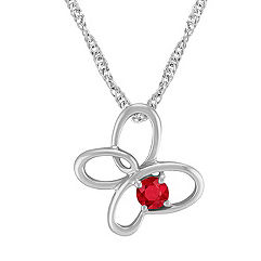 Ruby and Sterling Silver Floral Pendant (20 in.)