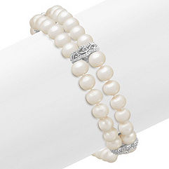5.5mm Cultured Freshwater Pearl and Sterling Silver Bracelet (7.5)