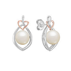 8mm Cultured Freshwater Pearl Earrings in White and Rose Gold