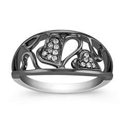Diamond Heart Ring with Black Rhodium