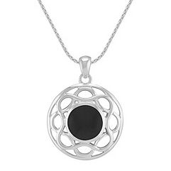 Black Agate and Sterling Silver Circle Pendant (24 in.)