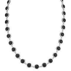 Black Agate and Sterling SIlver Necklace (18 in.)