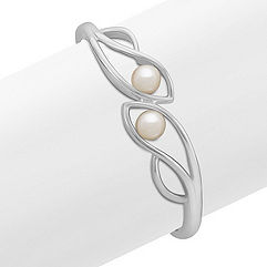 7.5mm Cultured Freshwater Pearl and Sterling Silver Bangle Bracelet (7 in.)