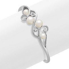 7.5mm Cultured Freshwater Pearl and Sterling Silver Cuff Bracelet (7)