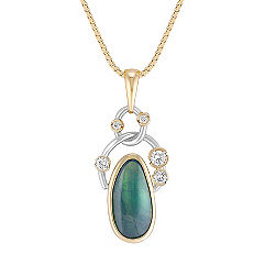 Freeform Green Sapphire and Round Diamond Pendant in Two-Tone Gold (18 in.)