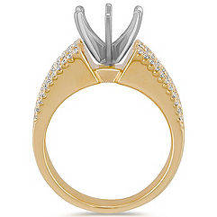 Cathedral Diamond Engagment Ring with Channel and Pavé Setting