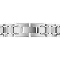 Stainless Steel Bracelet with Silver Carbon Fiber Accents (8.5)