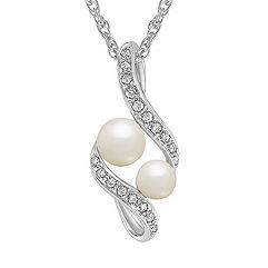 4.5-6mm Cultured Freshwater Pearl and Diamond Pendant in Sterling Silver (18 in.)
