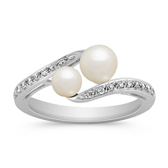 4.5-6mm Cultured Freshwater Pearl Diamond Ring in Sterling Silver